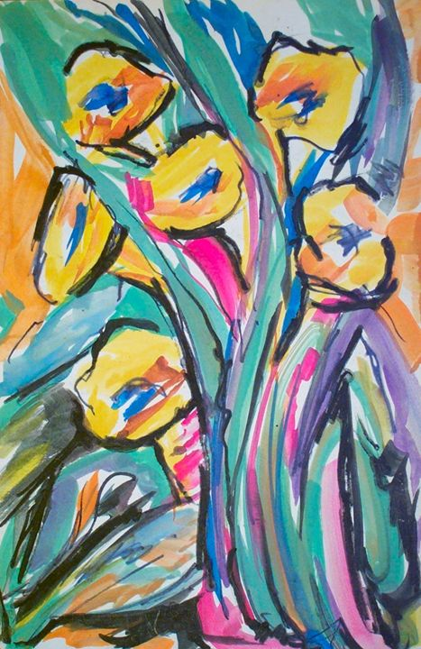 Abstract Yellow Flowers - Evelyn Bell Vodicka