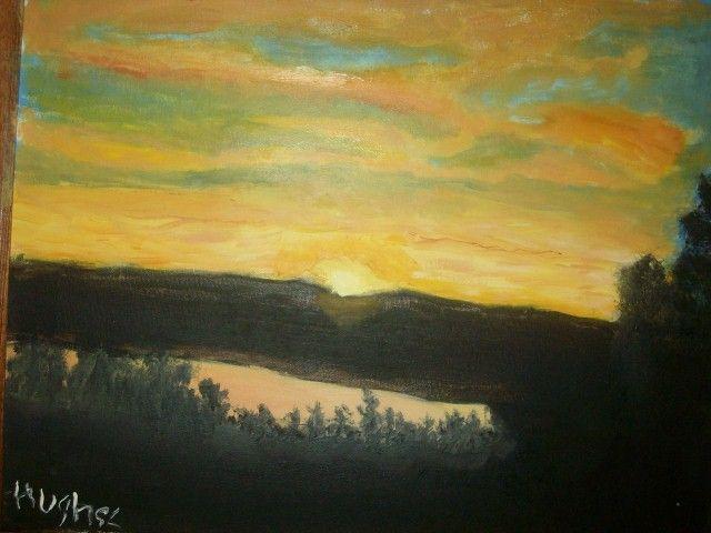 Sunset Over Lake - JKHughesPaints