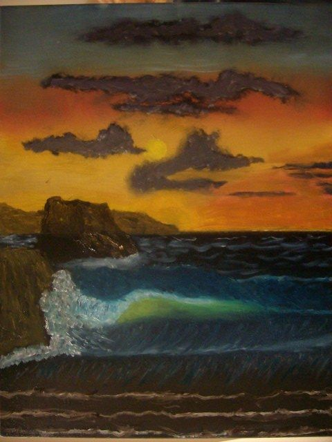 Seaside at Nighttime - JKHughesPaints