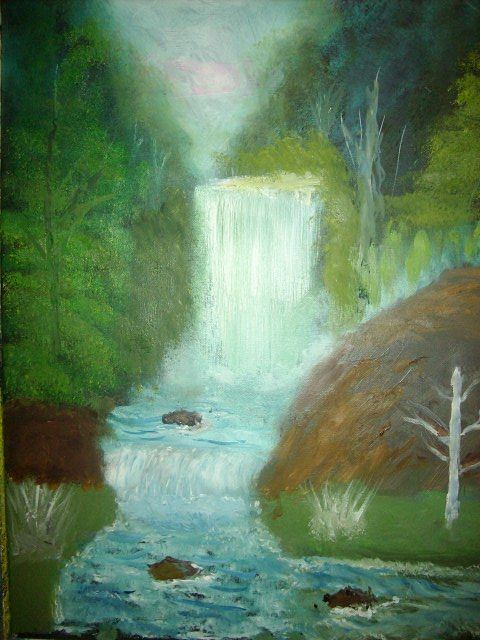 Waterfall In a Forrest - JKHughesPaints