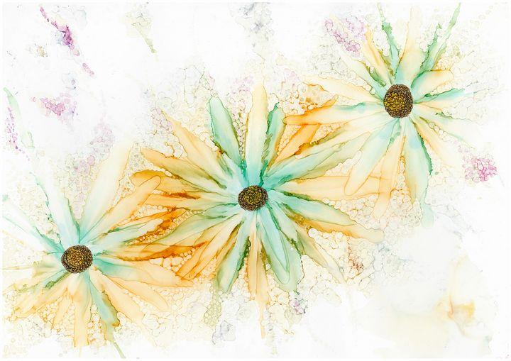 3 big orange and blue/green flowers - Nicoletdriver
