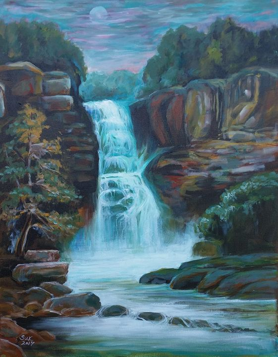 Moonlit Waterfall - Suk Sun
