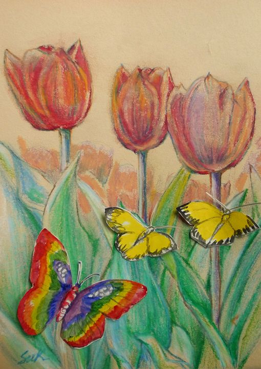 butterflies and tulips - Suk Sun