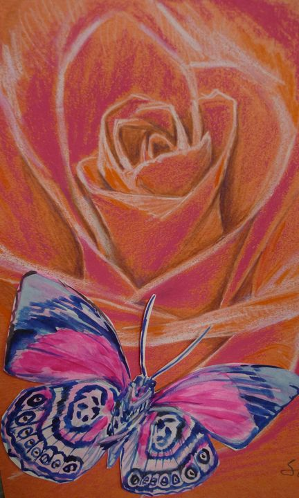 red rose and butterfly - Suk Sun