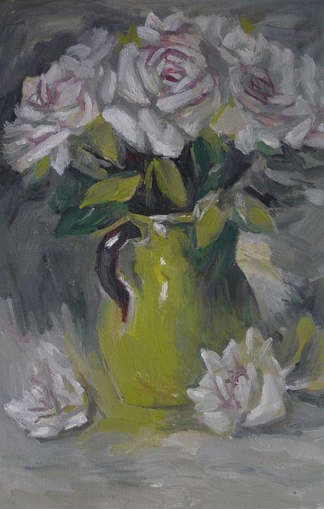 white rose with green vase - Suk Sun