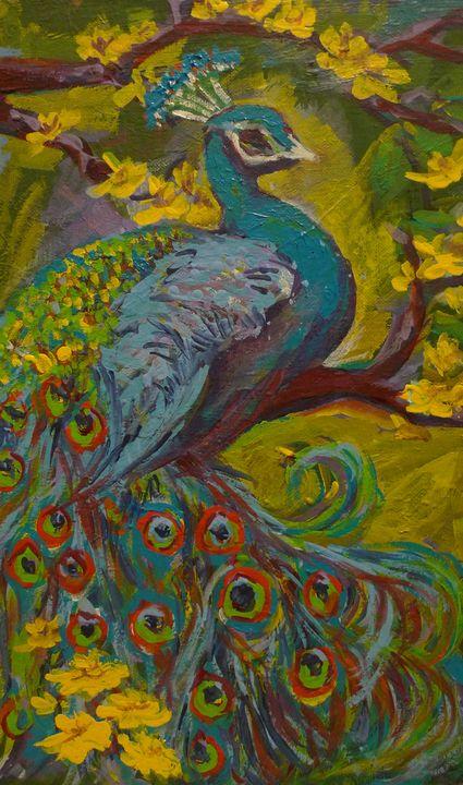 peacock on the yellow tree - Suk Sun