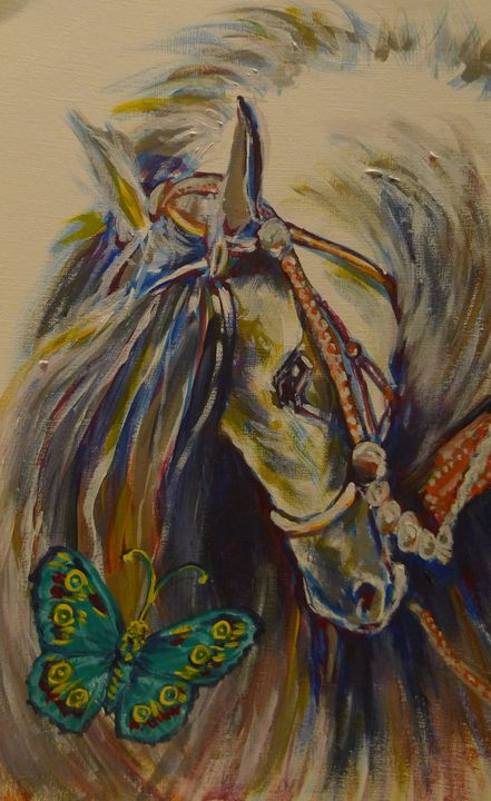 horse with blue butterfly - Suk Sun