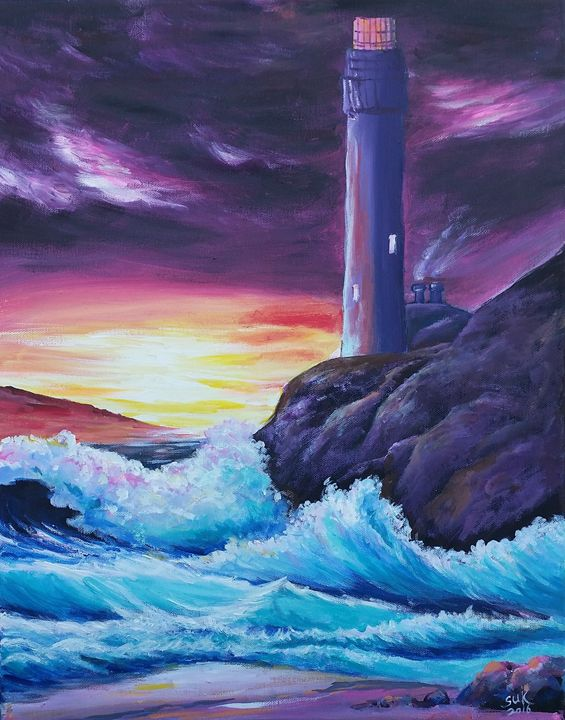 Sunset on a Lighthouse - Suk Sun