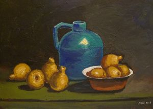 pears with blue base