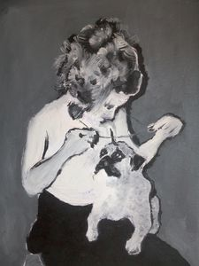 Girl playing with her cute dog