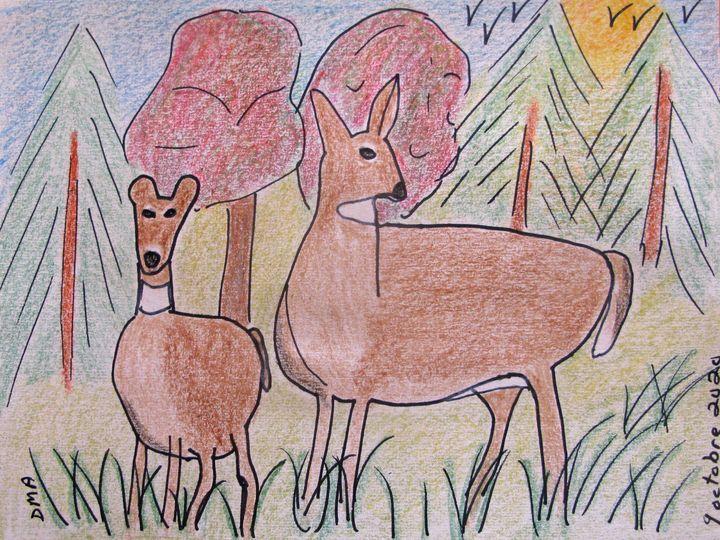 Deer at Sunset - grammasfolkart