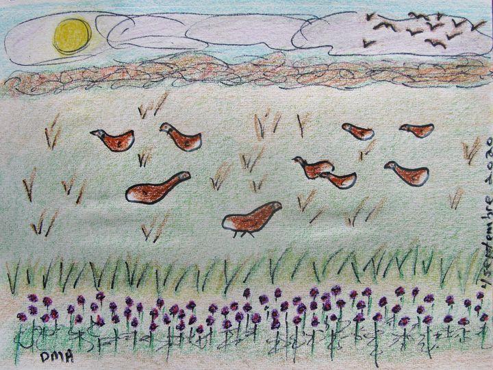 Geese in the Fields - grammasfolkart