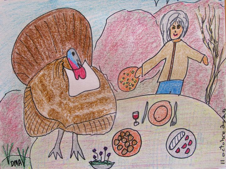 Look Who's Come for Dinner - grammasfolkart