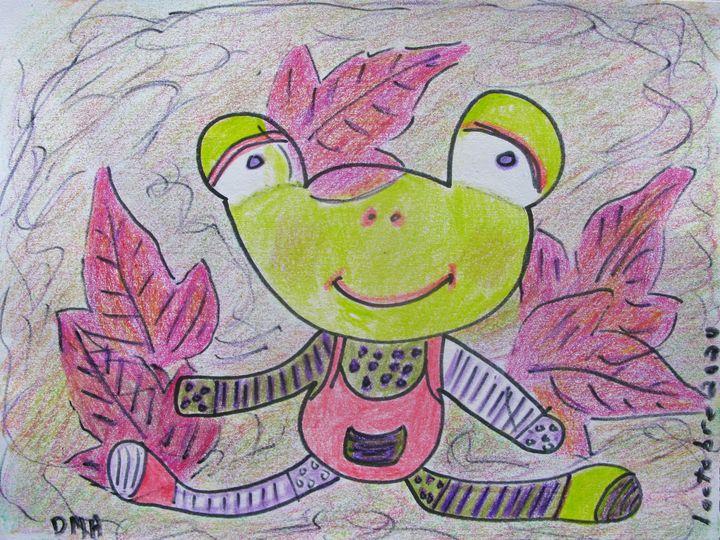 Playing in Leaves - grammasfolkart