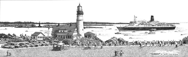 QE II visits(Portland Head Light,ME) - William C Harrison