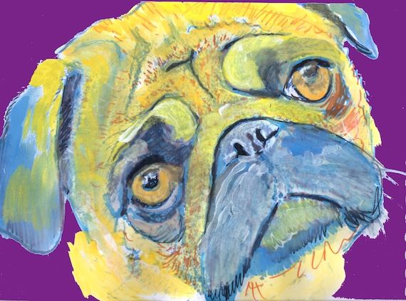 Sad Pugface cute pug dog print - Oscar Jetson