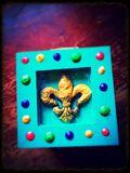 Fluer de Lis painted wood box