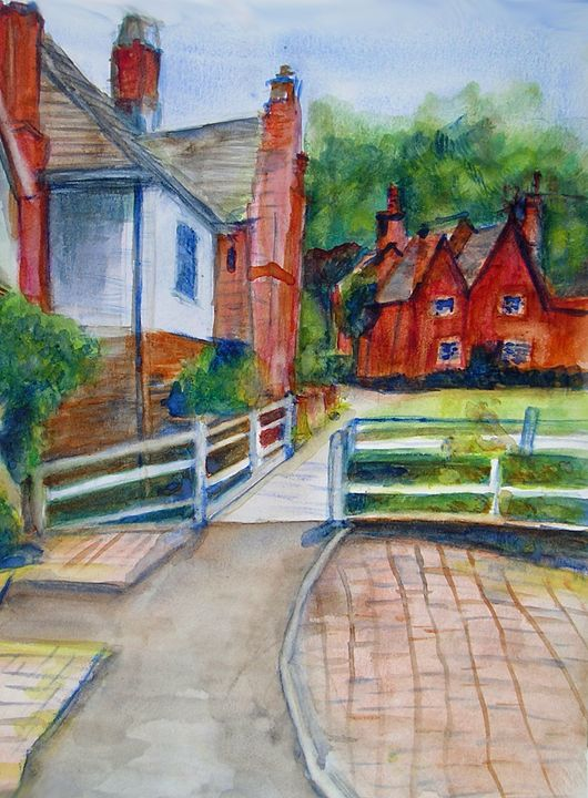 Cottages in Village in Summer - Barbara J Meacham