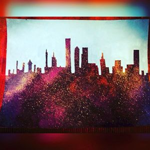 Original acrylic skyline painting