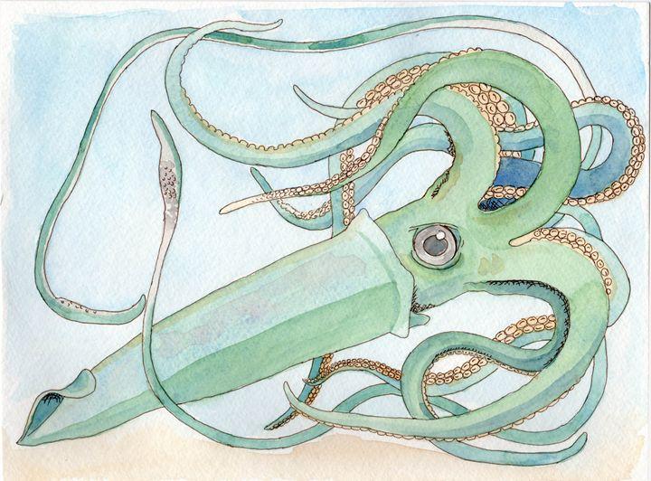 Gigantic squid - Palette & Pixels ; Art by Jaclyn DeSanti