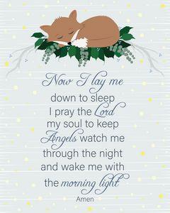Sleeping baby Fox with prayer