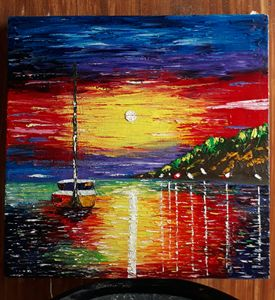 palette knife oil painting on canvas