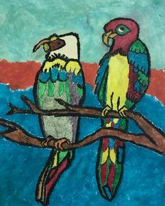 Colourful parrots canvas