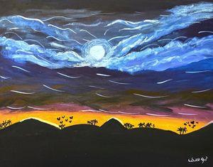 Landscape acrylic painting canvas