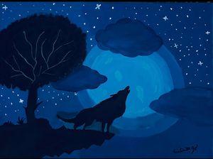 Midnight Wolf acrylic canvas
