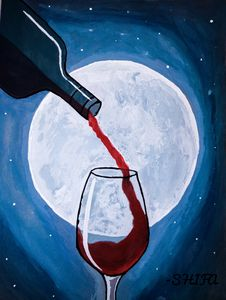 Red Wine With Moon
