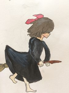 Kiki on her broom