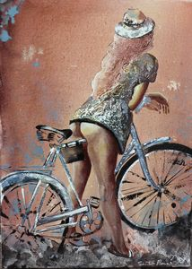 woman with a bike and her hat - Le Aly di Lia di Donatella Marraoni
