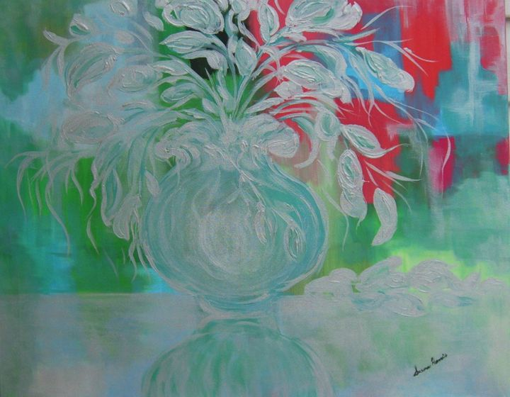 Silver Floral - Heaven Touching Earth Art by Susan Harris