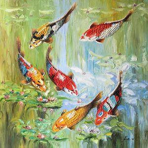 Koi fish,water lily