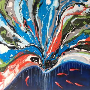modern abstract painting,goldfish