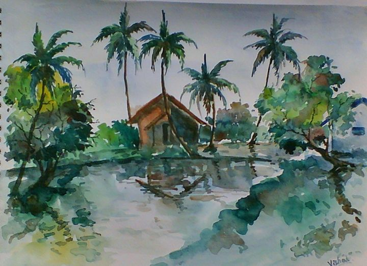 landscape 1 in Water Color - Arty's Art Gallery by Vishal Singh