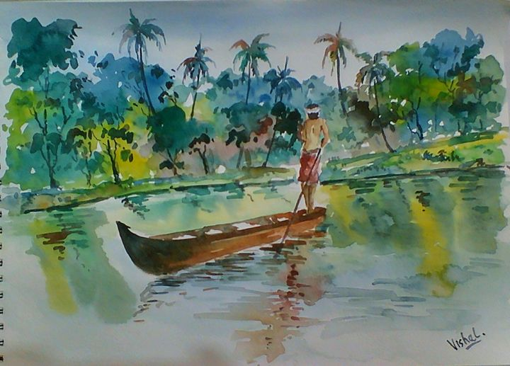 Landscape from Kerala (India) - Arty's Art Gallery by Vishal Singh