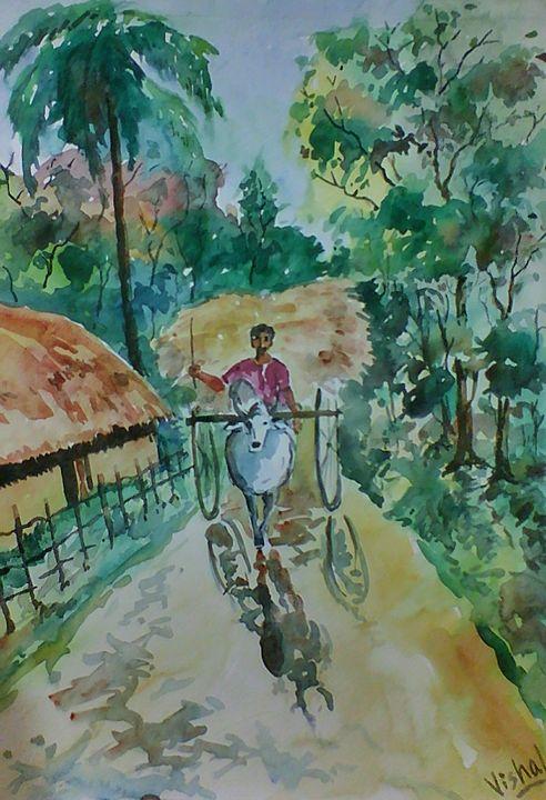 The Bullock Cart - Arty's Art Gallery by Vishal Singh