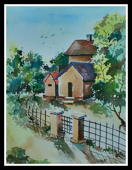 Landscape 13 in water color - Arty's Art Gallery by Vishal Singh