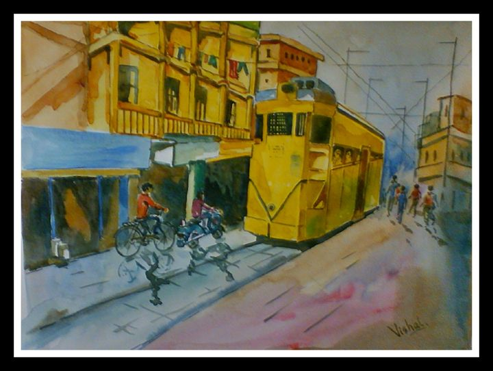Cityscape in water color - Arty's Art Gallery by Vishal Singh