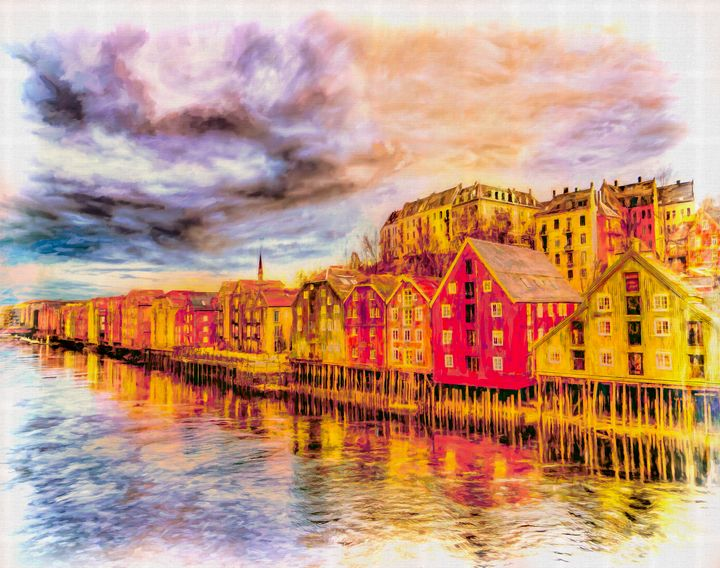 Trondheim - Waterfront Evening - Wib Dawson Paintings