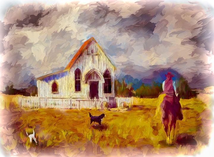 Mystery At High Plains Chapel - Wib Dawson Paintings