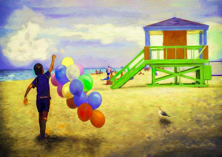 Beach Balloons - Wib Dawson Paintings