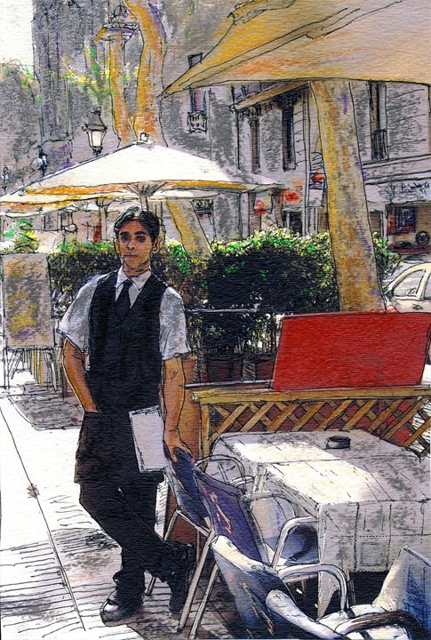 Waiter on La Rambla - Randy Sprout Fine Art