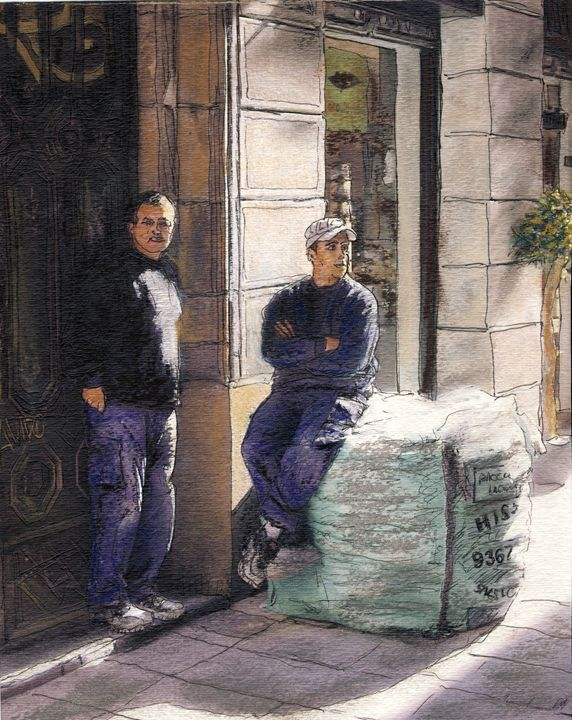Workers on La Rambla - Randy Sprout Fine Art
