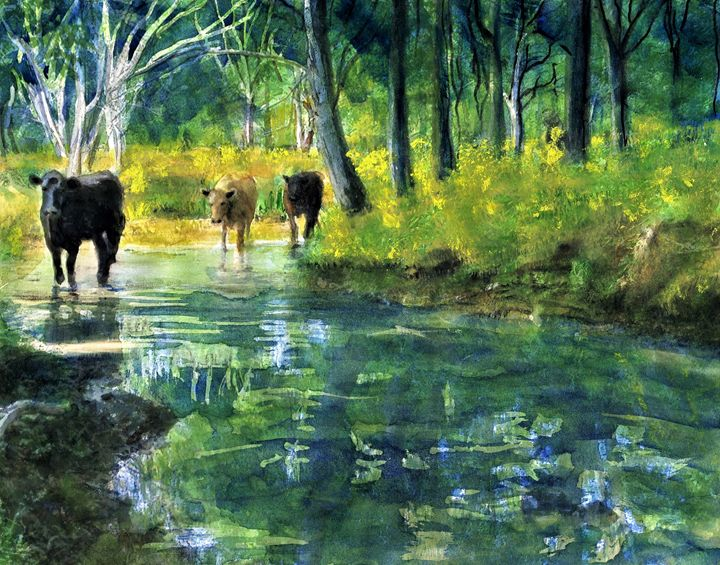 Streaming Cows - Randy Sprout Fine Art
