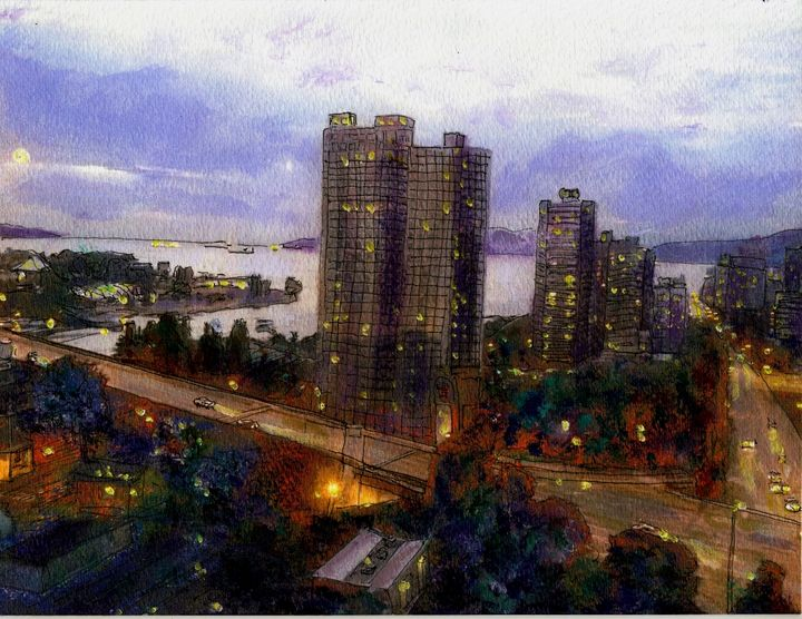 Moon Rise Over Vancouver - Randy Sprout Fine Art