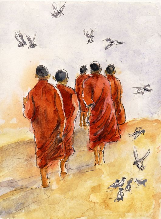 5 Monks in the sun - Randy Sprout Fine Art