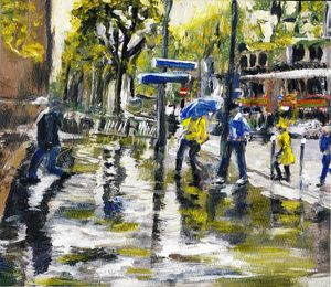 Paris Street Sketch in The Rain