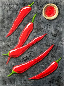 Red peppers. It is hot.